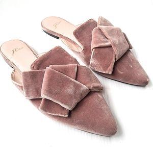 J CREW blush velvet bow knot mule slides K0010